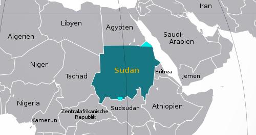Karte: Lage des Sudans