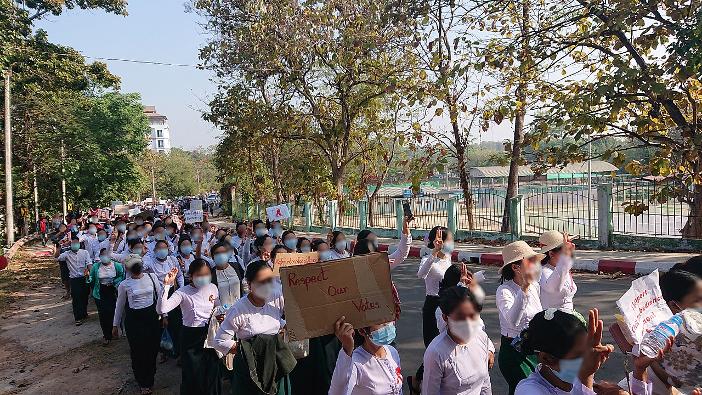 Protest gegen den Militärputsch in Myanmar