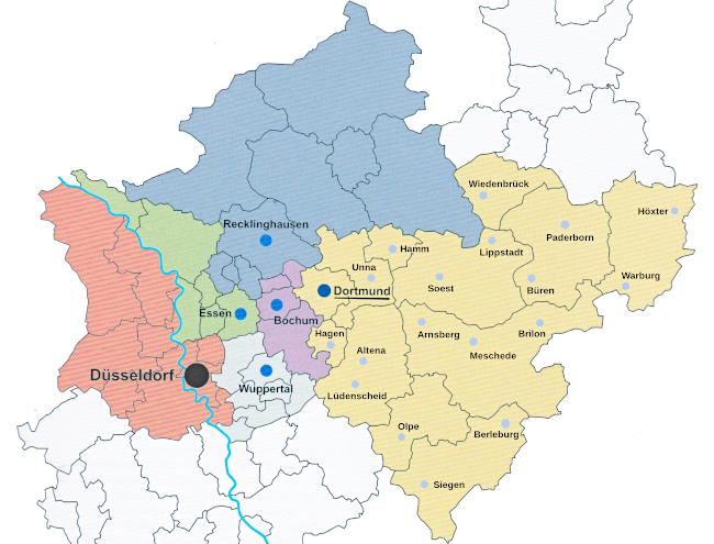 Zuständigkeitsbereiche der Kriminalpolizei Düsseldorf – Dortmund